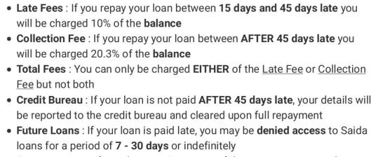 saida late loan repayment