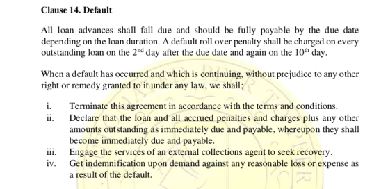 Ubapesa late loan repayment